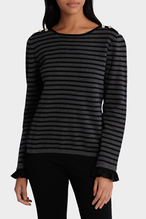 Basque - Striped Boatneck Jumper With Frill Sleeve