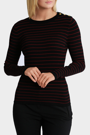 Basque - Rib Jumper With Button Detail