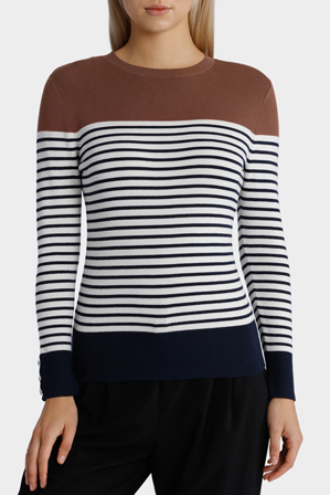 Basque - Stripe Jumper With Solid Yoke