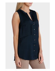 Basque - Longline Pintuck Sleeveless Shirt