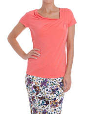 Basque - Pink Grapefruit Jersey Cowl Pleat Shoulder Top