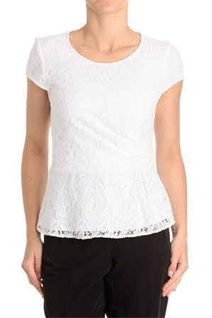 Basque - Side Pleat Lace Top