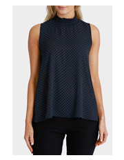 Basque - Print Shirred Neck Sleeveless Top