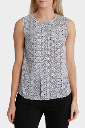 Basque - Tile Print Pressed Pleat Top