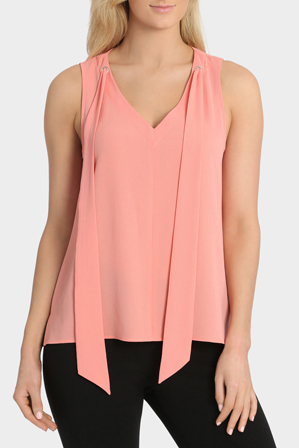 Basque - Tie Neck Sleeveless Top