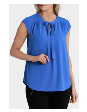 Basque - Cap Sleeve Tie Neck Soft Top