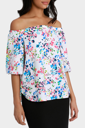Basque - Confetti Print Off The Shoulder Top