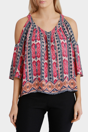 Basque - Marrakech Print Cold Shoulder V Neck Top
