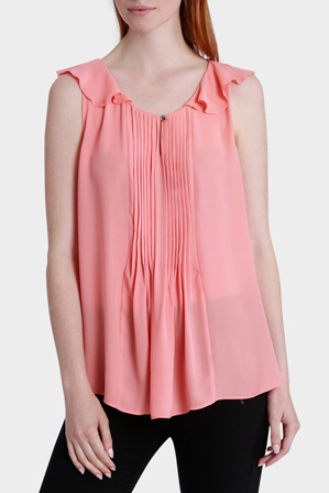 Basque - Vertical Pleat Ruffle Shoulder Top