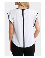 Basque - Keyhole Piped Flutter Sleeve Top