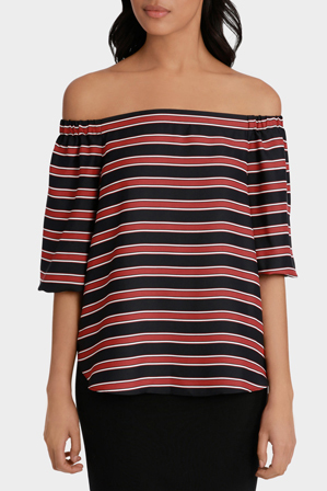 Basque - Irregular Stripe Off The Shoulder Top