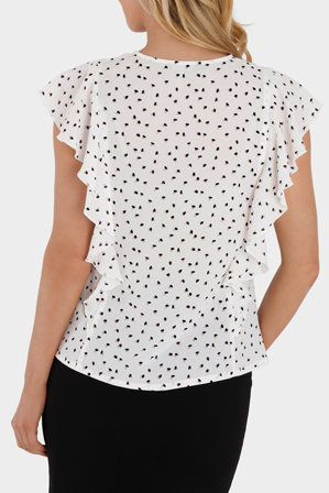 Basque - Geo Print Vertical Ruffle Top
