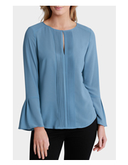 Basque - Pintuck Keyhole Flared Sleeve Blouse