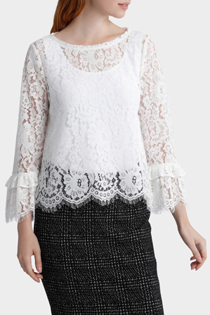 Basque - Lace Flared Sleeve Top