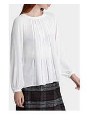 Basque - Circle Trim Long Slv Blouse
