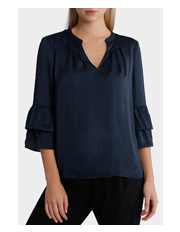 Basque - Bruised Poly Ruffle Sleeve Top