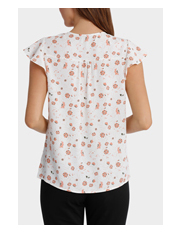 Basque - Braid Insert Button Thru Blouse Print