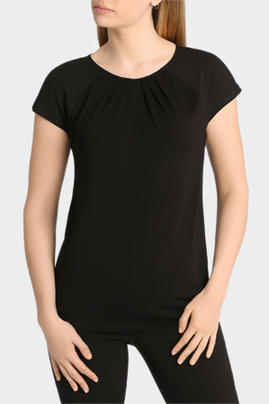 Basque - Contrast Sleeve Tuck Detail Tee