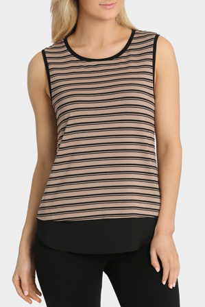 Basque - Chiffon Hem Jersey Stripe Top
