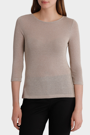 Basque - Lurex Boatneck 3/4 Slv Tee