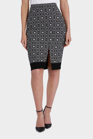 Basque - Tile Print Split Hem Pencil Skirt