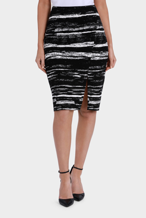 Basque - Scratchy Stripe Split Hem Pencil Skirt