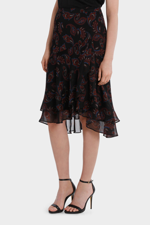 Basque - Boho Paisley Soft Ruffle Skirt