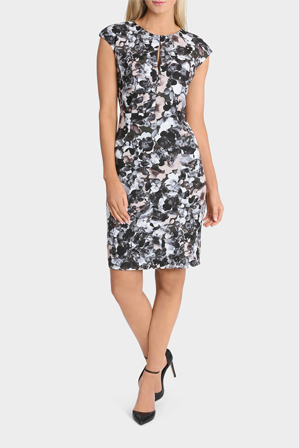 Basque - Photographic Floral Print Extended Sleeve Dress