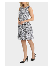 Basque - Monotone Pansy Print Soft Flare Dress