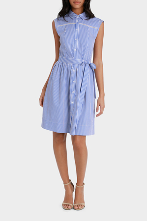 Basque - Tie Waist Stripe Shirt Dress