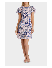 Basque - Vine Leaf Drape Sleeve Crepe Dress