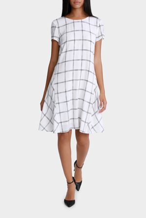 Basque - Sketchy Grid Short Sleeve A Line Dress