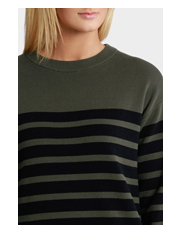 Basque - Striped Knitwear 3/4 Slv Dress