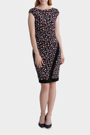 Basque - Scratch Spot Print Jersey Dress