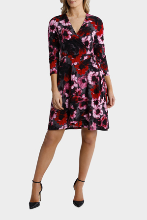Basque - Winter Floral Print Wrap Jersey Dress