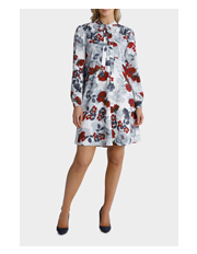 Basque - Poppy Print Tie Neck Swing Dress