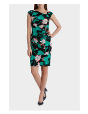 Basque - Whimsical Lilly Print Ruched Jersey Dress