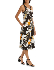 Basque - Vee Neck Sketchy Lily Print Midi Dress