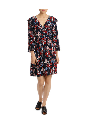 Basque Posie Floral Frill Sleeve Wrap Dress Myer Online