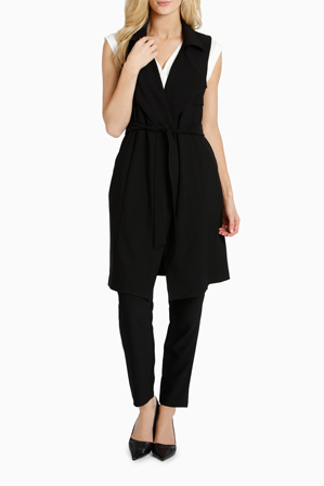 Basque - Sleeveless Longline Crepe Trench
