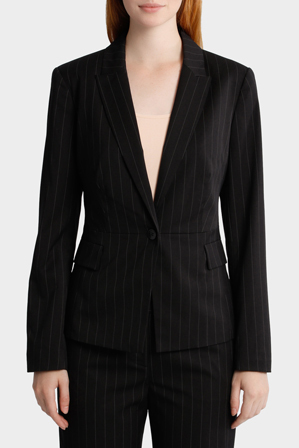 Basque Petites - Black Pinstripe Suit Jacket