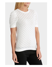 Basque Petites - Crew Neck Short Sleeve Diamond Stitch Knit