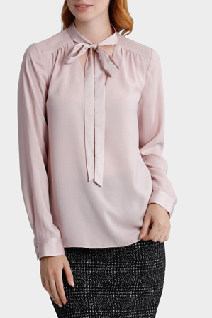 Basque Petites - Tie Neck Low Vee Blouse