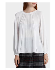 Basque Petites - Circle Trim Long Slv Blouse