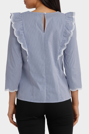 Basque Petites - Scallop Frill Micro Stripe Woven Top