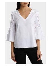 Basque Petites - Vee Neck Braid Insert Sleeve Drama Top