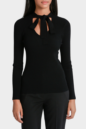 Basque Petites - Tie Neck Ribbed Jumper