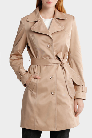 Basque Petites - Single Breasted Tie Waist Trench Coat