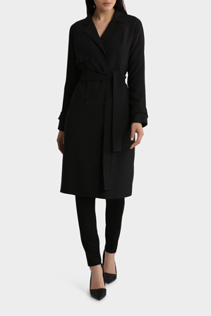 Basque Petites - Double Breasted Tie Waist Trench Coat