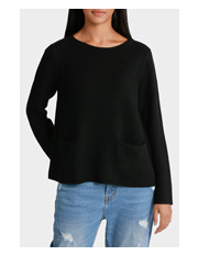 Piper - Crew Neck Rib Sweater with Pocket Detail